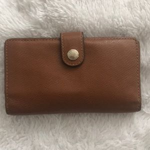 Coach brown leather phone wallet